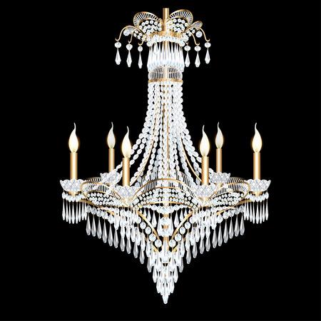 pendants: illustration of a modern chandelier with crystal pendants Illustration