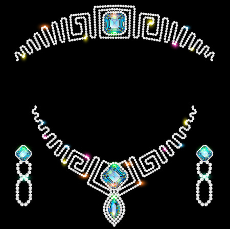 diamond necklace: Illustration design element earrings necklaces and a crown of precious stones A as well as an element