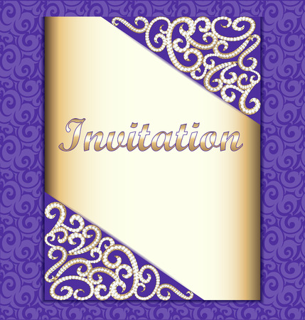 design frame: Elegant background with gold ornament with diamond , jewelry frame, vintage postcard for invitation template