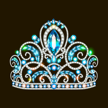 Illustration of a beautiful crown, tiara tiara with gems and pearls.