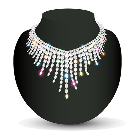 personal accessories: Illustration of a womans necklace sparkling shiny beautiful wedding
