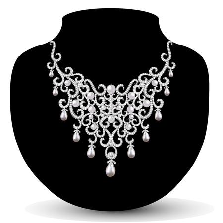 piedras preciosas: collar de la joyería femenina con hermosas perlas y piedras preciosas Vectores