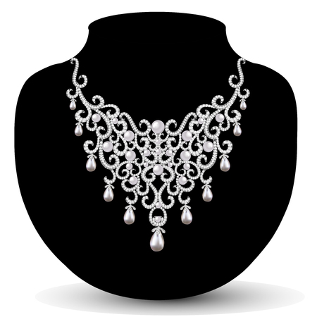 precious stones: jewelry necklace female with beautiful pearls and precious stones Illustration