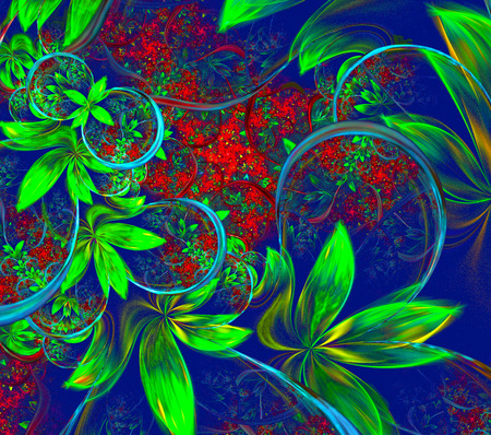 fractal background: Illustration fractal background with green leaves and flowers.A fractal is a natural phenomenon or a mathematical set that exhibits a repeating pattern that displays at every scale. Stock Photo