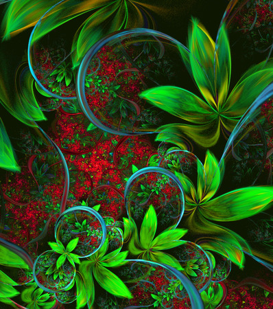 natural phenomenon: Illustration fractal background with green leaves and flowers. A fractal is a natural phenomenon or a mathematical set that exhibits a repeating pattern that displays at every scale.