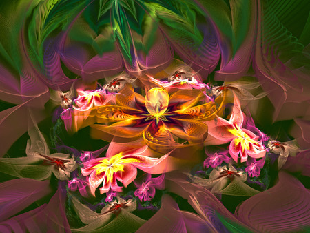 displays: Illustration fractal background with green leaves and flowers.A fractal is a natural phenomenon or a mathematical set that exhibits a repeating pattern that displays at every scale. Stock Photo