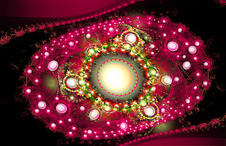 natural phenomenon: Illustration fractal background with pearls. A fractal is a natural phenomenon or a mathematical set that exhibits a repeating pattern that displays at every scale.