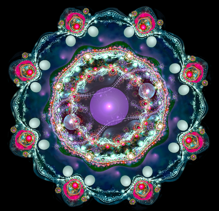 Illustration fractal background brooch with pearls. A fractal is a natural phenomenon or a mathematical set that exhibits a repeating pattern that displays at every scale.