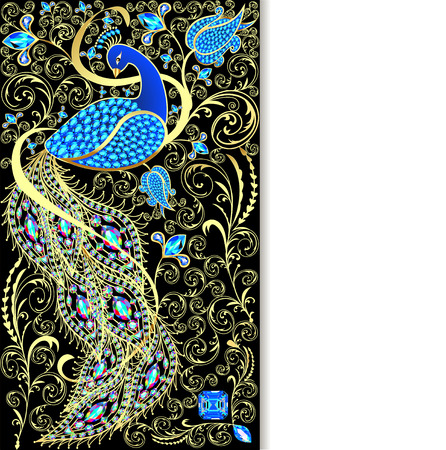 gold ornament: illustration background with peacock with gold ornament and precious stones Illustration