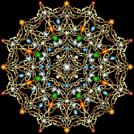 piedras preciosas: Illustration background circular ornaments of precious stones Vectores