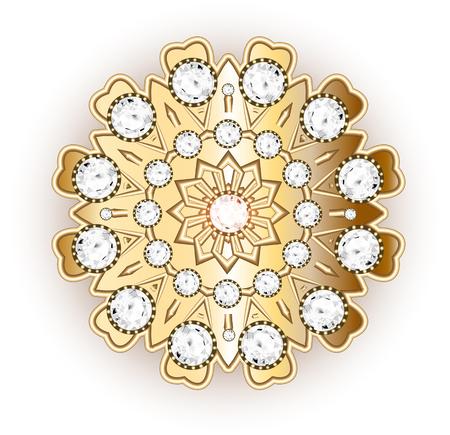 gemstones: Mandala brooch jewelry, design element. Tribal ethnic floral pattern mandala round with precious stones. Geometric vintage ornamental background. Illustration