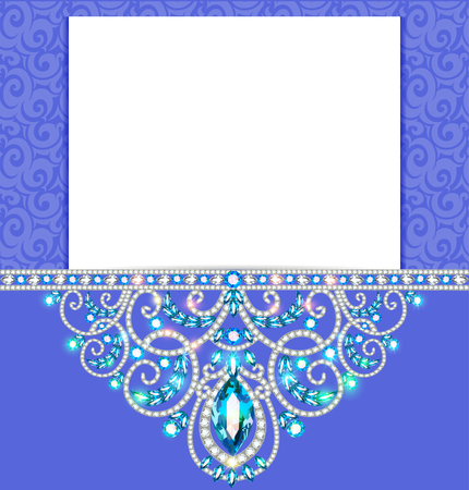 vignette: Elegant background with gold ornament with diamond jewelry , frame, vintage postcard