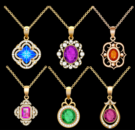 asscher: illustration set of necklace pendants jewelry made of precious stones