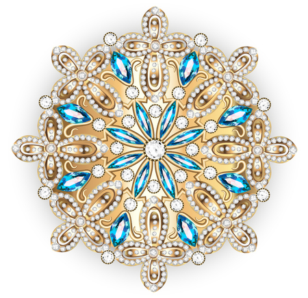 gold stars: Mandala brooch jewelry, design element. Tribal ethnic floral pattern mandala round with precious stones. Geometric vintage ornamental background. Illustration