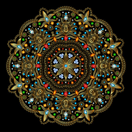 vintage patterns: Illustration background circular ornaments of precious stones Illustration
