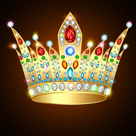 Illustration royal shiny gold crown with precious stones and jewelry