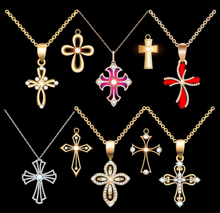 Illustration set gold and silver cross pendant with gems Illustration