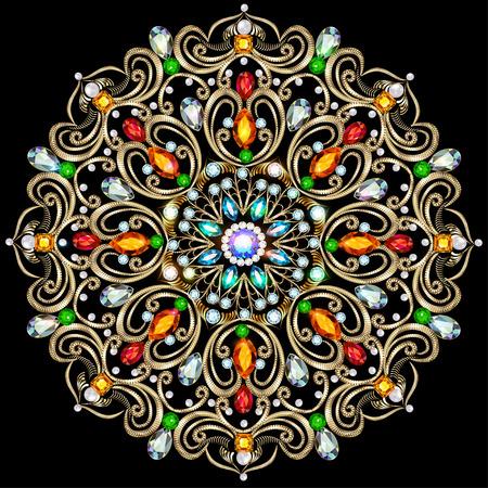 precious stones: Illustration background circular ornaments of precious stones Illustration