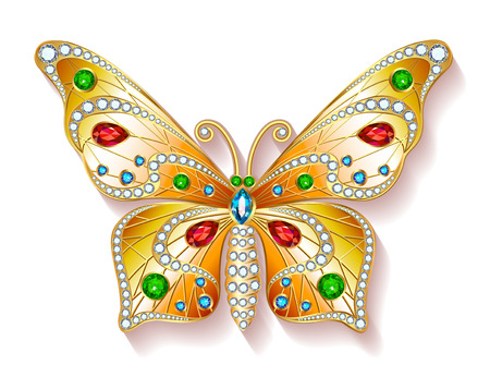 butterfly isolated: Jewelry gold butterfly in gems. Beautiful decoration. Isolated object.