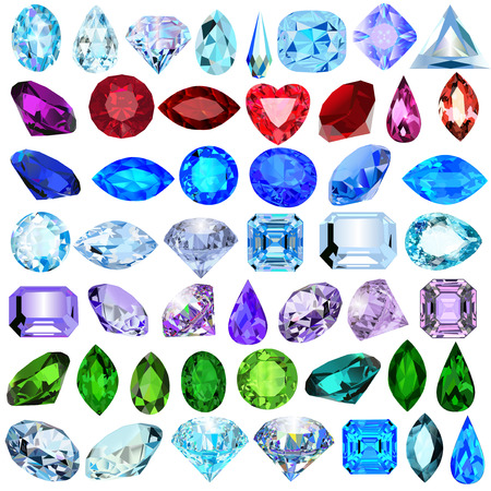 emerald stone: illustration set of precious stones of different cuts and colors