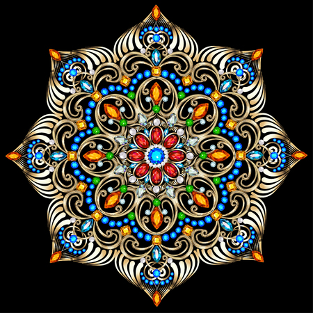 piedras preciosas: Ilustración de fondo adornos circulares de piedras preciosas Vectores