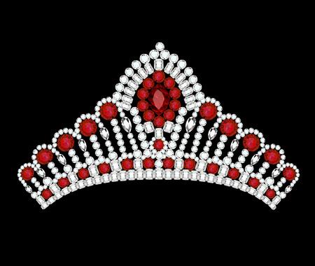 Illustrazioni donna corona diadema di gemme rosse