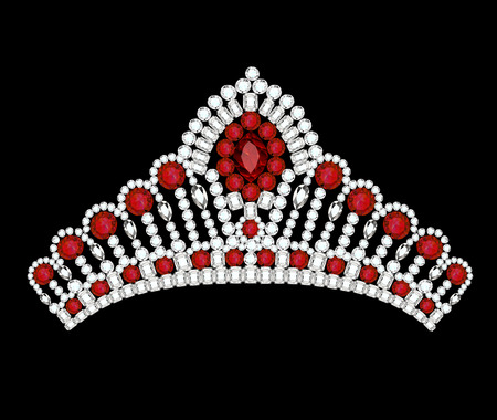 Illustrations crown tiara woman with red jewels Illustration