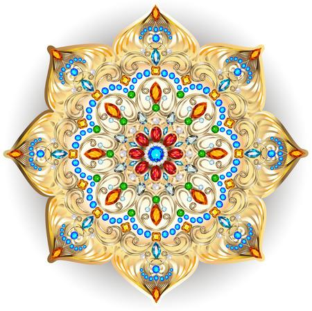 Mandala brooch jewelry, design element. Tribal ethnic floral pattern mandala round with precious stones. Geometric vintage ornamental background. Illustration
