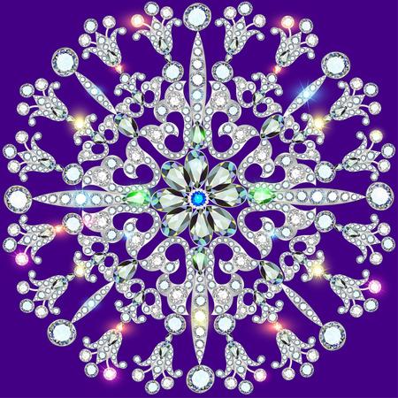 piedras preciosas: Ilustraci�n de fondo adornos circulares de piedras preciosas Vectores