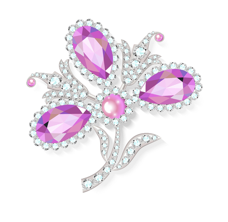 modest fashion: Delicate flower gemstones brooch isolated on white background, illustration