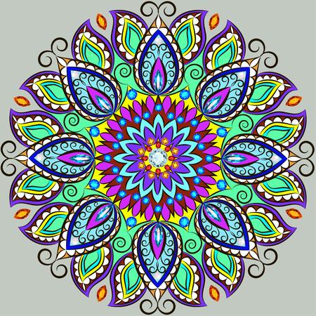 background kaleidoscope: Illustration background circular ornaments of precious stones Illustration