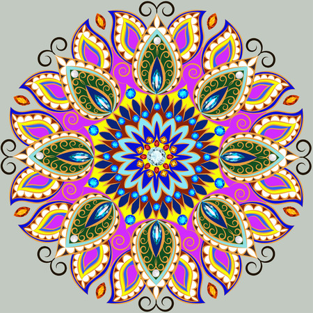 Illustration background circular ornaments of precious stones Illustration