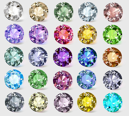 illustration set of precious stones of different  colors