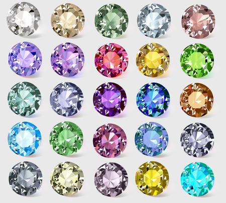 precious stones: illustration set of precious stones of different  colors