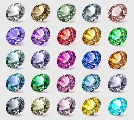 illustrazione set di pietre preziose di diversi colori Vettoriali