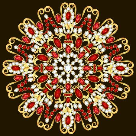 precious stones: Mandala brooch jewelry, design element. Tribal ethnic floral pattern mandala round with precious stones. Geometric vintage ornamental background. Illustration