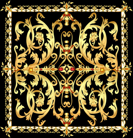precious stones: illustration vintage background with  gold pattern and precious stones