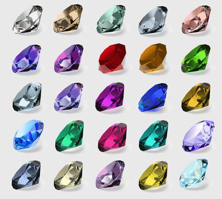 emerald stone: illustration set of precious stones of different  colors