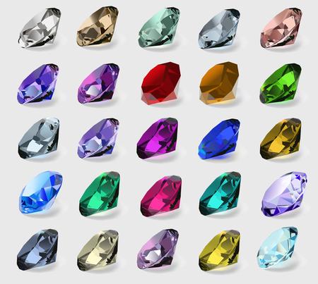 piedras preciosas: Ilustración conjunto de piedras preciosas de diferentes colores