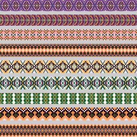 braid: illustration set of ornamental braid strips of colored geometric ornament