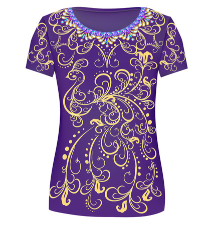 fashionable: Design T-Shirts. Print a fashionable ornament for womens fashion garments and other applications