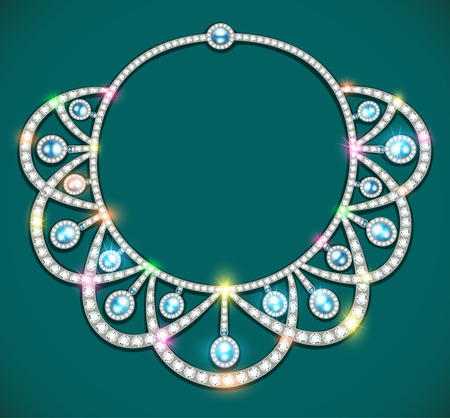 illustration of a womans necklace with precious stones
