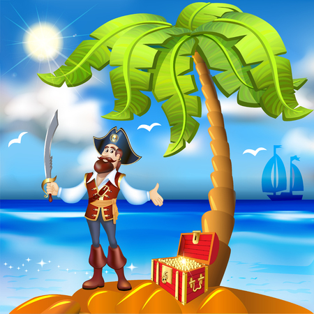 isles: illustration of cartoon pirate island and treasure chest with gold trim