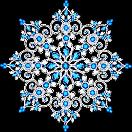 Christmas snowflake crystal precious. Beautiful jewelry, medallion, brooch, decoration on neck, mandala, frame. Fashion pattern brilliant stones,  applique rhinestones, jeweler - stock vector