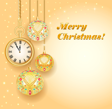 watch new year: Illustration poster card festive Christmas with balls and gold clock