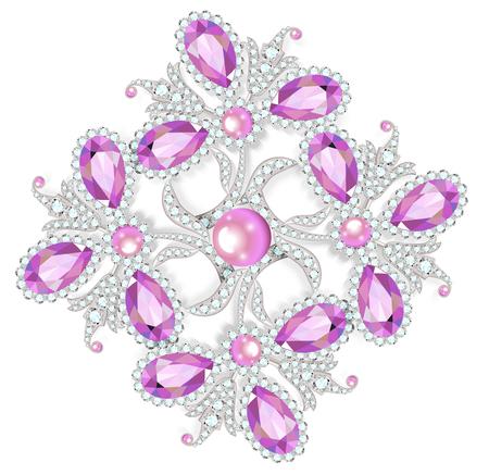 modest fashion: Delicate flower gemstones brooch isolated on white background, vector illustration Illustration