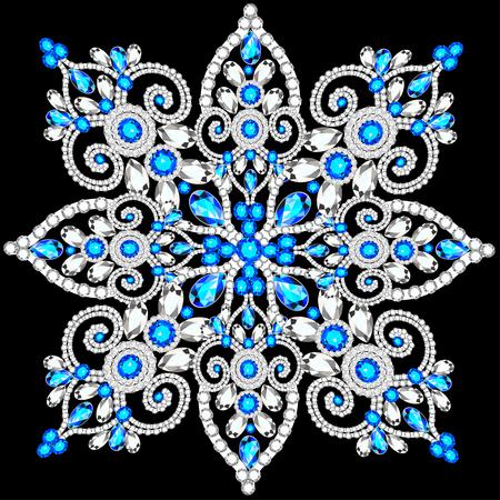 rhinestones: Christmas snowflake crystal precious. Beautiful jewelry, medallion, brooch, decoration on neck, mandala, frame. Fashion pattern brilliant stones,  applique rhinestones, jeweler - stock vector