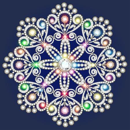 Christmas snowflake crystal precious. Beautiful jewelry, medallion, brooch, decoration on neck, mandala, frame. Fashion pattern brilliant stones, applique rhinestones, jeweler