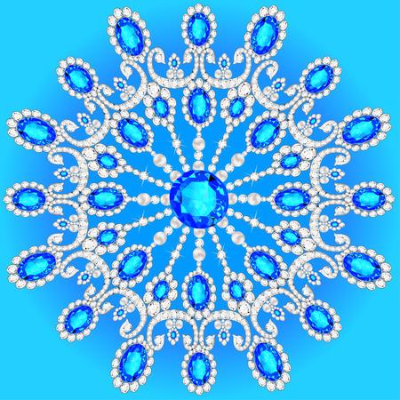 Christmas snowflake crystal precious. Beautiful  medallion, brooch, decoration on neck, mandala, frame. Fashion pattern brilliant stones,  applique rhinestones, - stock