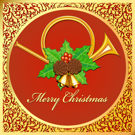 Illustration  Christmas card with horns, bells, leaves and berries, pine cones and gold ornaments.